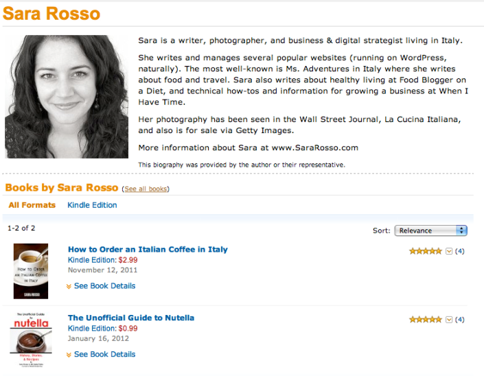 Sara Rosso's Amazon Author Page