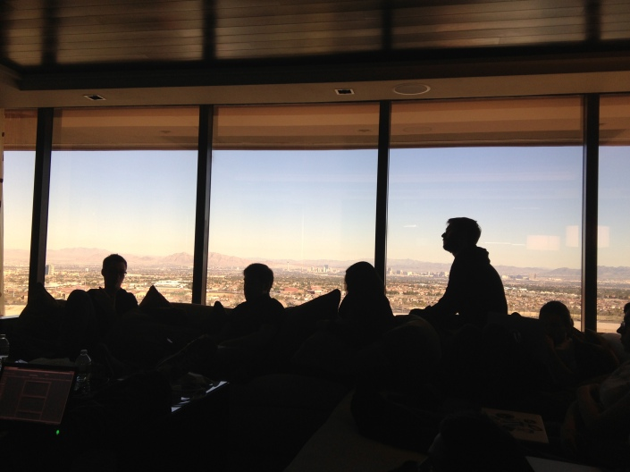 The team meeting in Las Vegas and working on some new features.