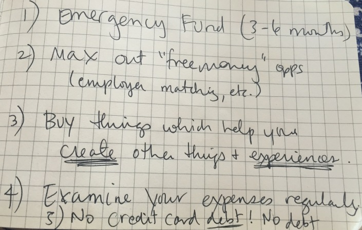 My Financial Advice on an Index Card, When I Have Time by Sara Rosso